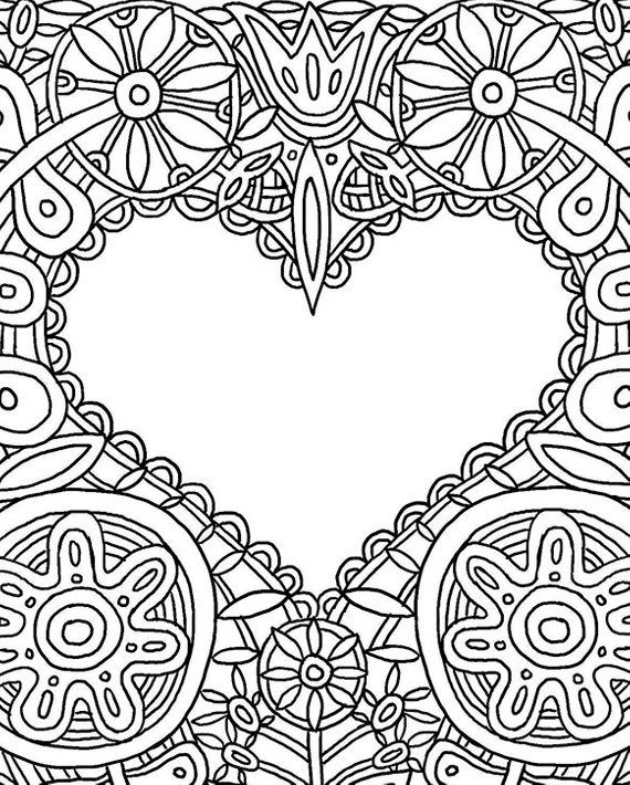 HEART CARD Coloring Page (Printable 8.5 x 11