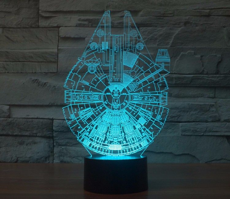 LED lamp, 3D effect, Falcon Millenium, Star Wars