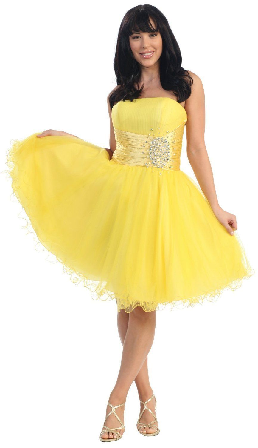 Strapless-Cocktail-Party-Junior-Yellow-Formal-Dress- | Formal ...