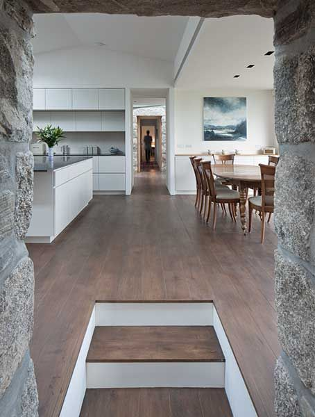 stone walkway in a croft to the open plan kitchen | scottish croft on scottish cottage interiors, scottish stone house, scottish holidays and traditions, scottish homes, scottish hall house,