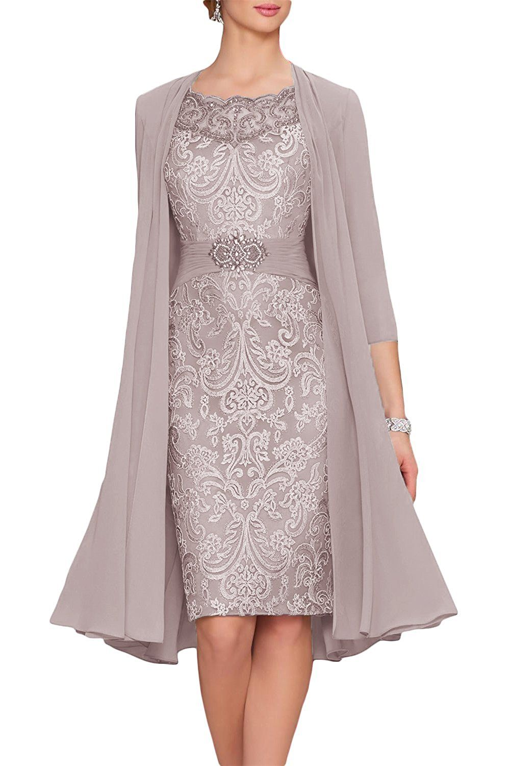 Newdeve Chiffon Mother Of The Bride Dresses Tea Length Two Pieces With Jacket At Amazon Womens