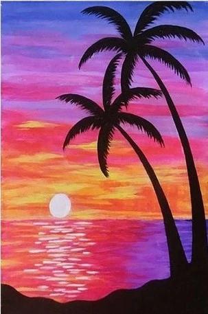 Purple Beach Sunset Landscape Paint By Numbers Numeral Paint 718887159253264201 Iskusstvo Na Nebolshom Holste Kartiny S Palmami Plyazhnye Kartiny