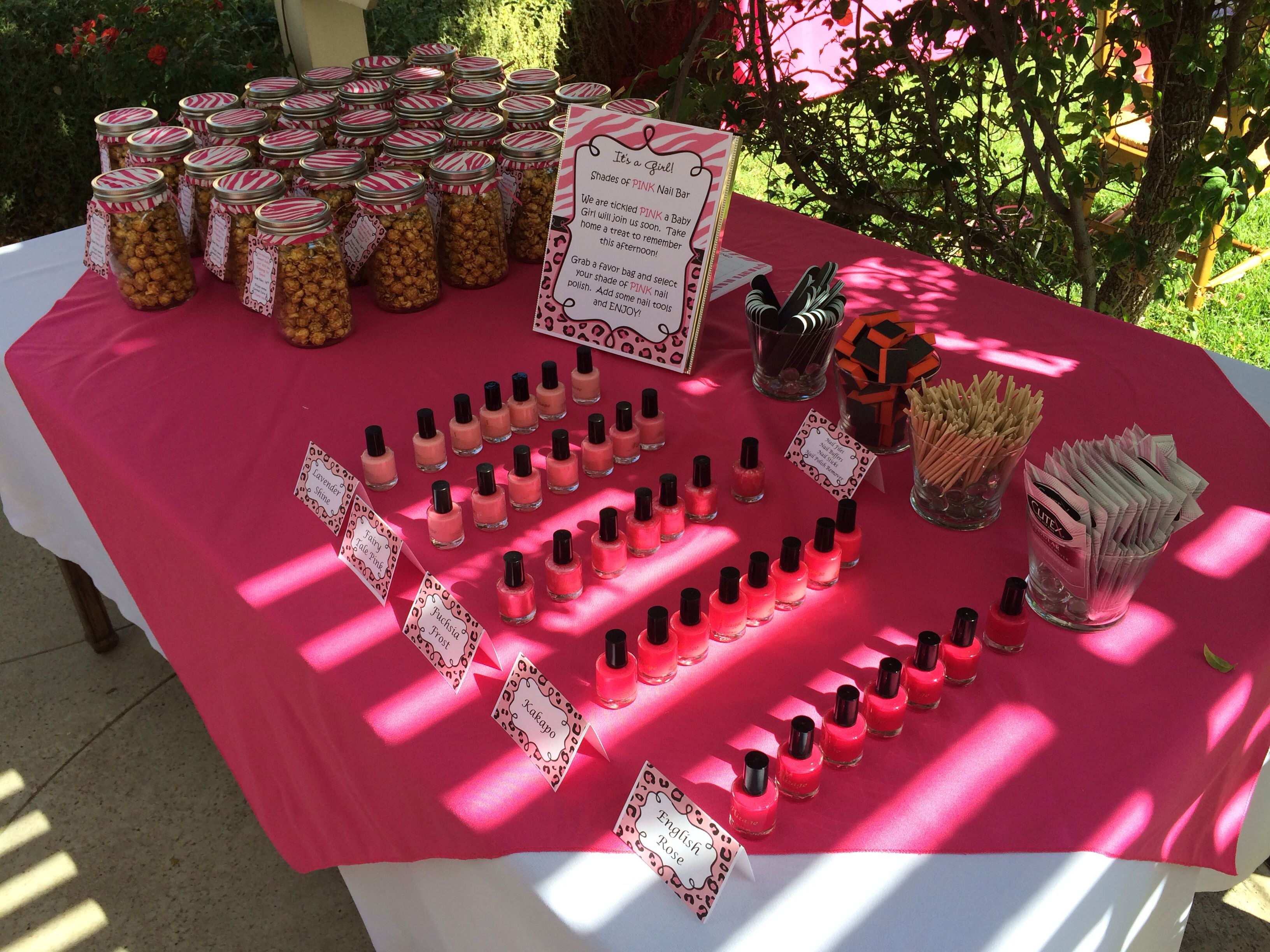 Baby Shower Nail Bar U0026 Favor Table. Shades Of Pink Nail Polish For My Little