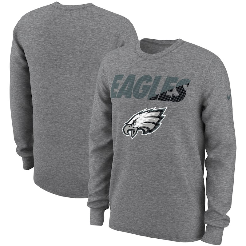 Philadelphia Eagles Nike Wedge Performance Long Sleeve T-Shirt - Heathered  Gray 75e1808ee