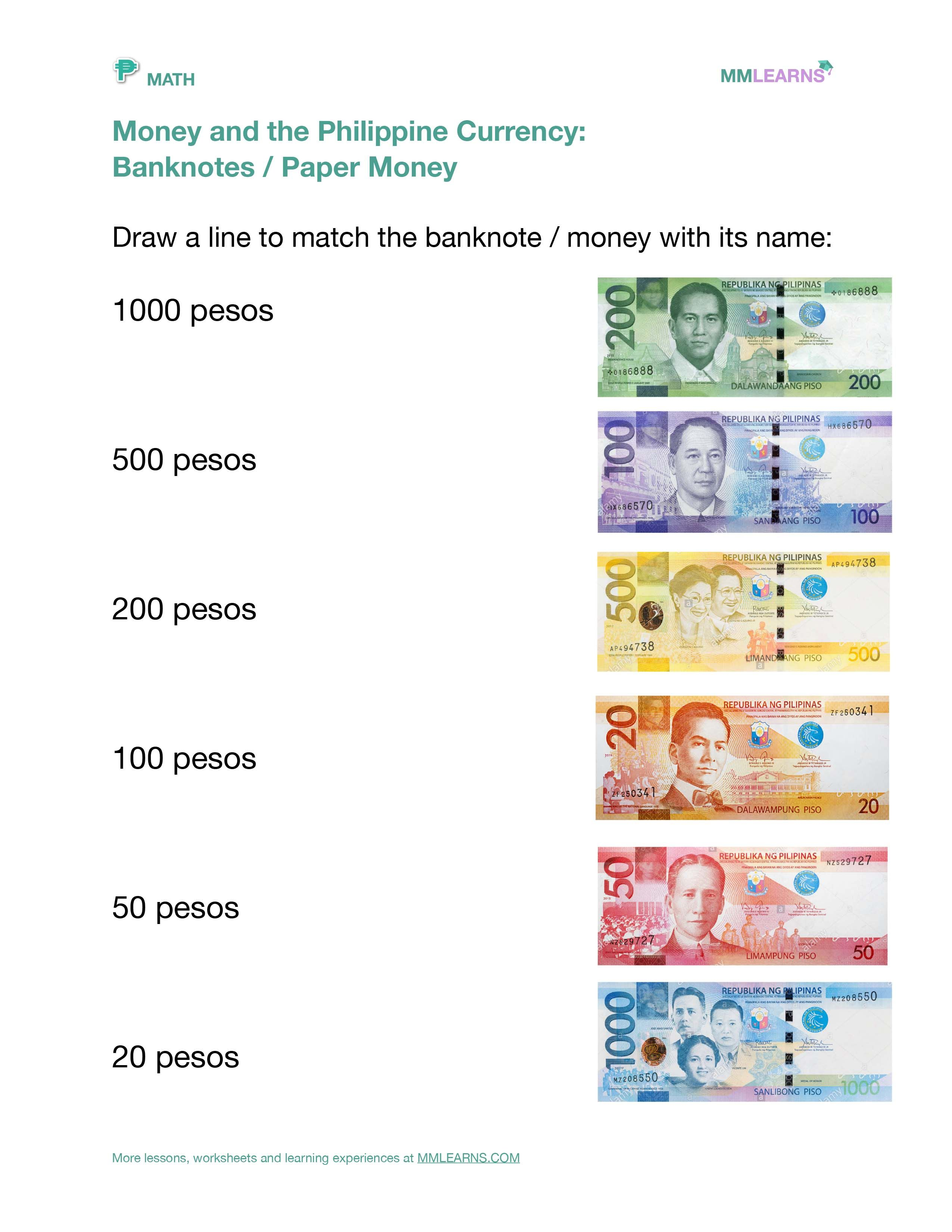 Money And The Philippine Currency Worksheet In