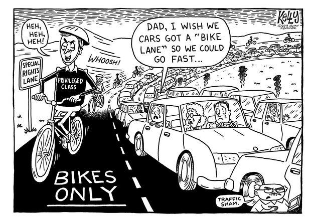 FUNNY CARTOON: It's fairly inevitable that 'traffic' will eventually come to a standstill. LONG LIVE THE BIKE!