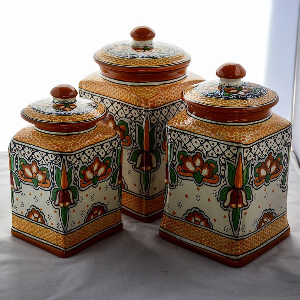 talavera canister set marigold kitchen bathroom laundry talavera canister set marigold