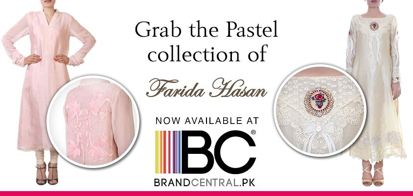 Grab the Pastels of Farida Hassan Pastel Frock Flowy--->http://www.brandcentral.pk/pastel-frock Vintage Rose--->http://www.brandcentral.pk/vintage-rose