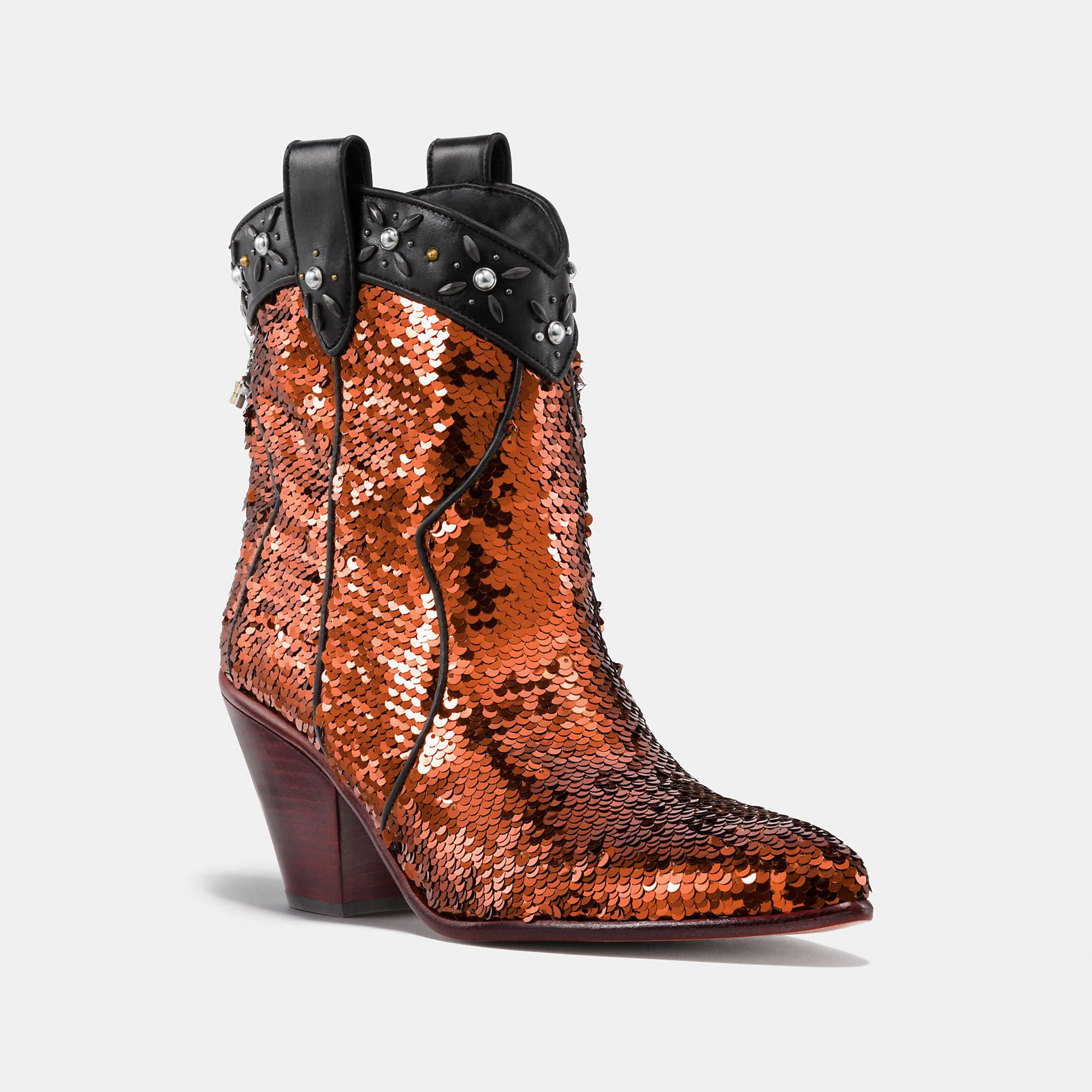 5520dd8f2b6 Western Bootie With Sequins   Products   Coach boots, Sequin shoes ...