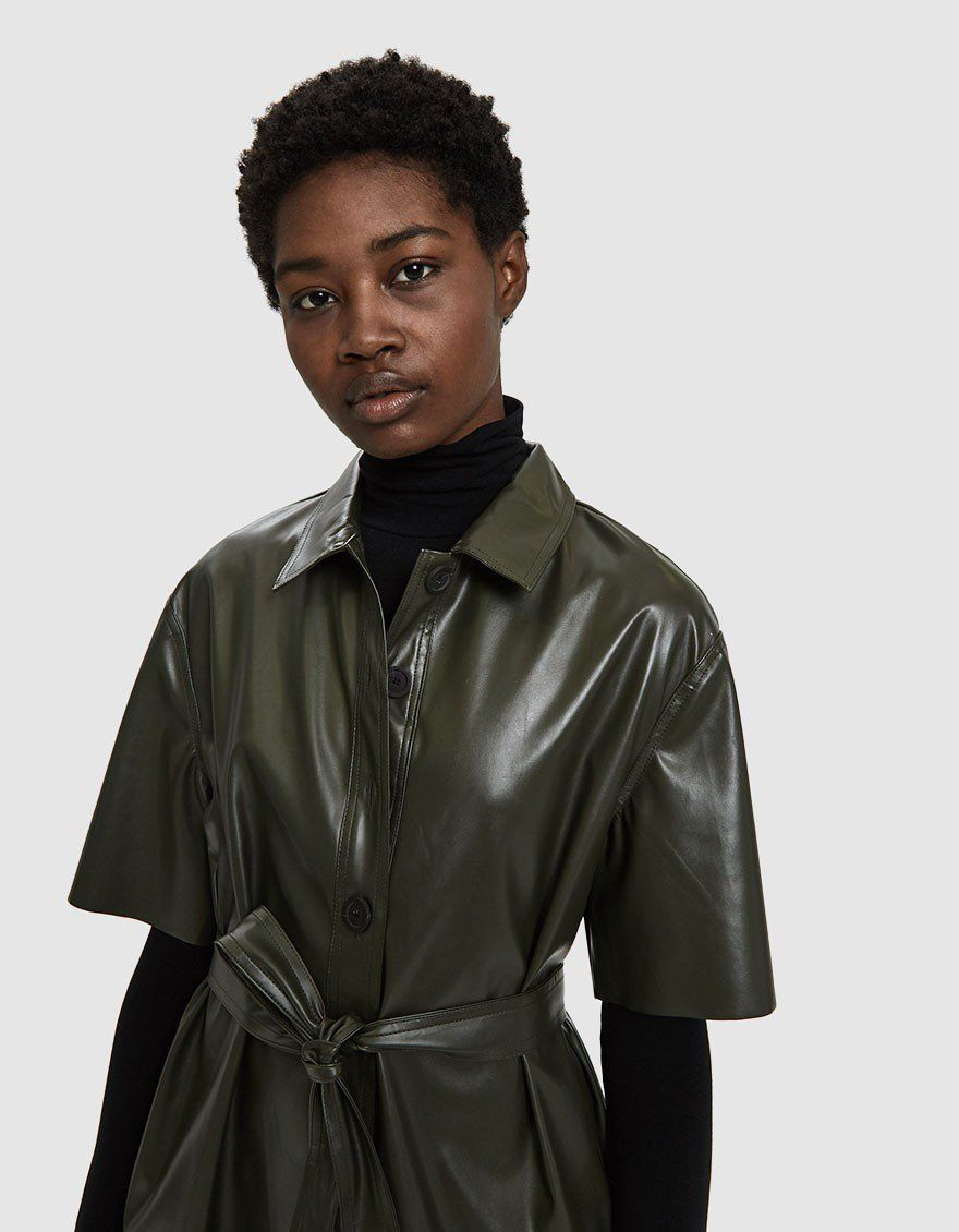 a13a5279d12f Beau Faux Leather Shirt Dress Need Supply Co Leather Shorts, Vegan Leather,  Raincoat,