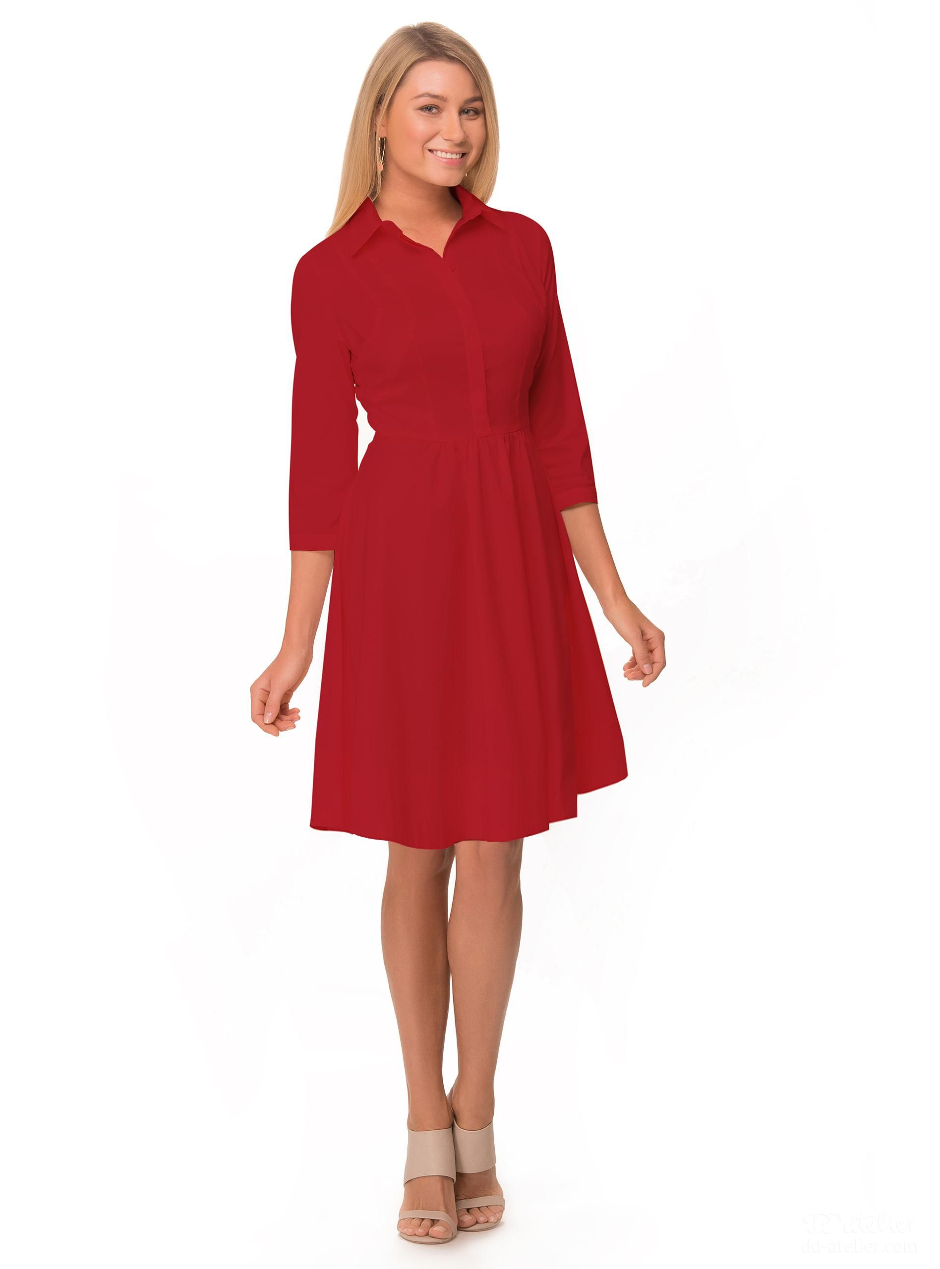 2391cdac84c77 Shirt-Dress 1-280 in red, for a big bust | My Style | Dresses, Shirt ...
