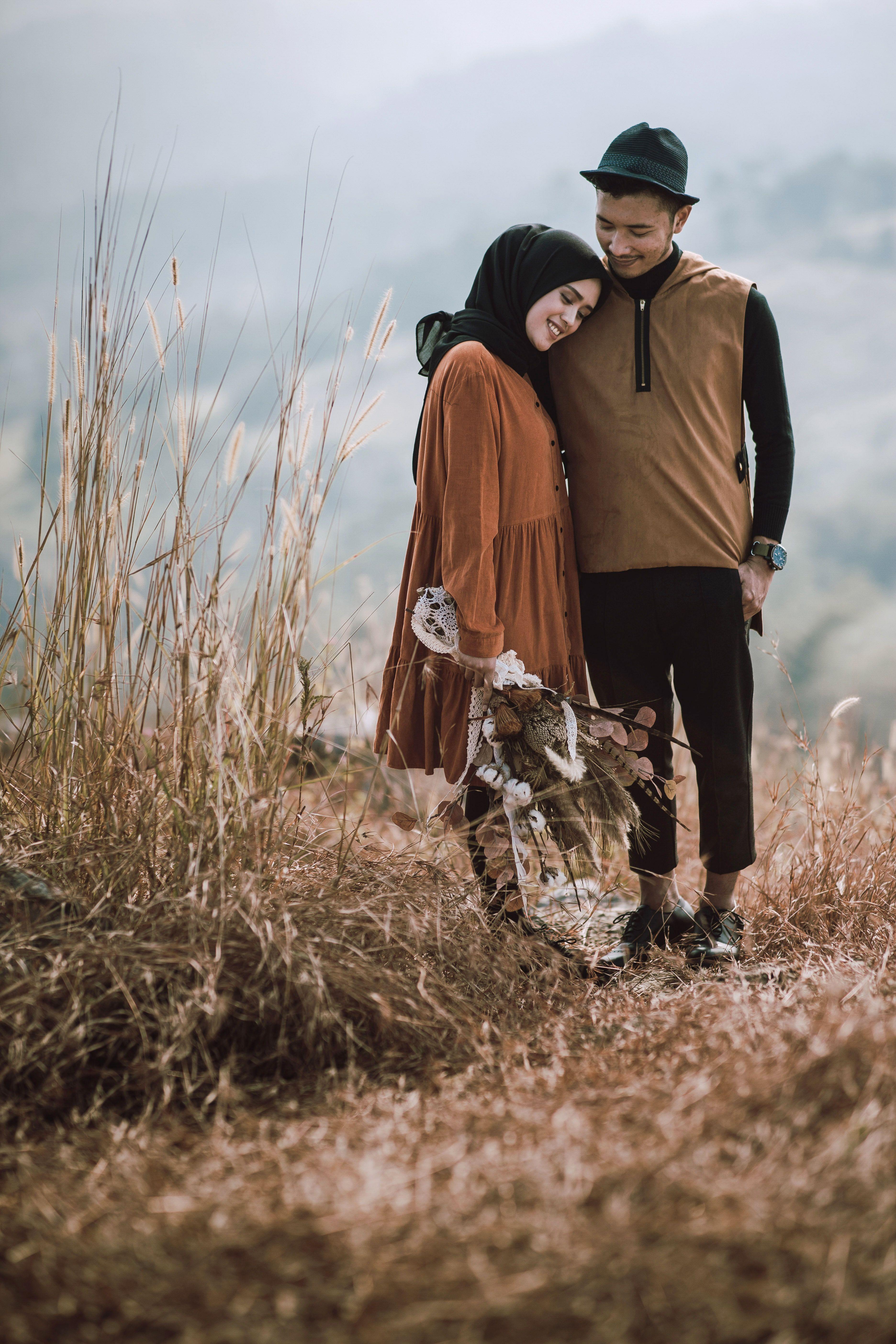 Prewedding Hijab Vintage Foto Perkawinan Fotografi Tunangan Foto Tunangan