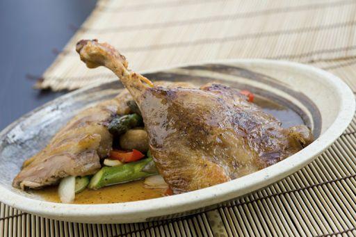 Pato al horno con verduras
