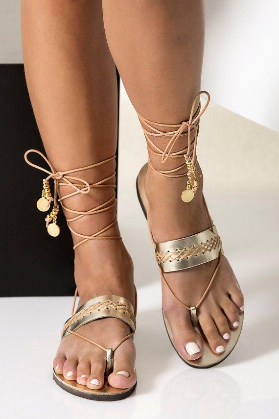 Gold Leather Sandals Greek Ankle Wrap Flat Wedding Flats Bridal Penelope