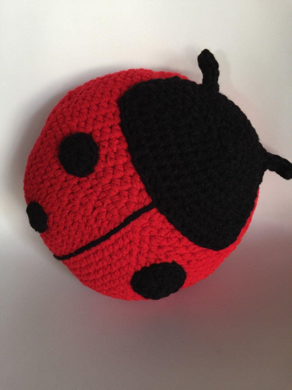 Crochet Ladybug Pillow Handmade Pillow Crochet Pillow Red Etsy Crochet Ladybug Crochet Pillow Pattern Crochet Pillow Cover