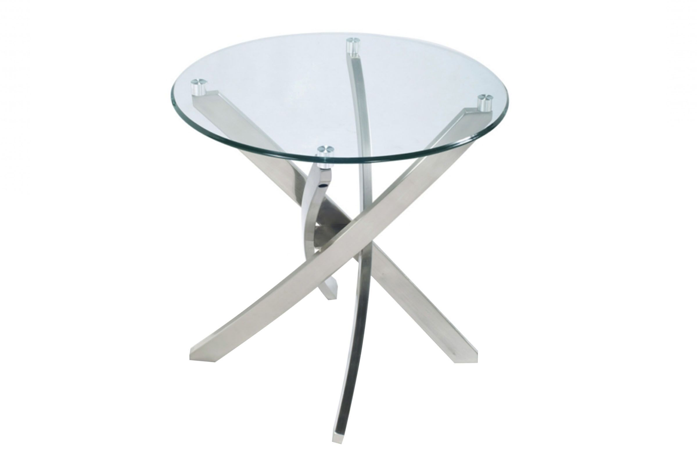 Brushed Nickel And Glass End Table Glass End Tables Metal End