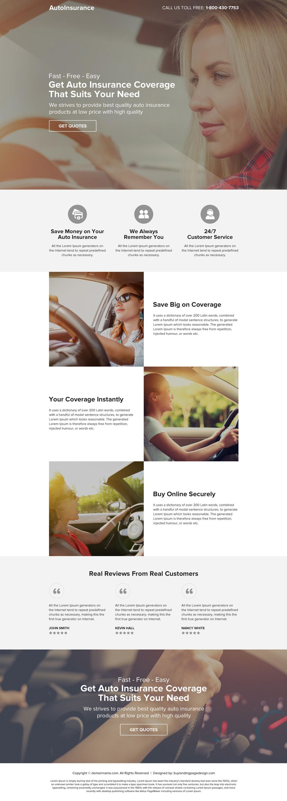 Responsive auto insurance clean and minimal landing page