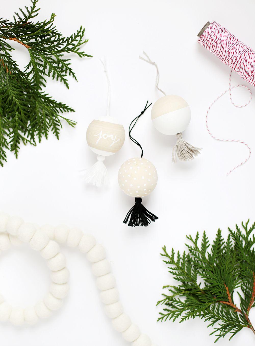 Diy Wooden Tassel Ornaments The Holiday Collective Beaded Ornaments Diy Minimalist Christmas Tassel Ornament