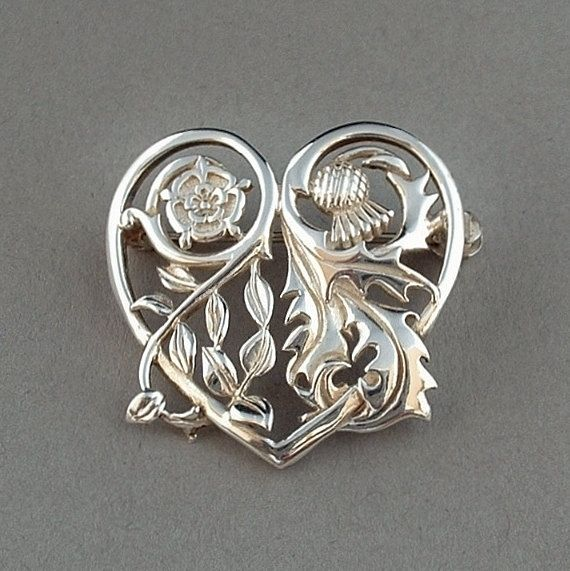 SCOTTISH Sterling Silver Thistle Rose BROOCH Heart Shape Authentic Crown  JEWELS Replica Velvet Pouch English Hallmarks