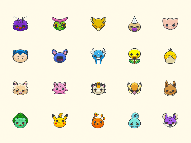 Colorful Pokemon Go Icons Sketch Freebie Pokemon Pokemon App Pokemon Snorlax