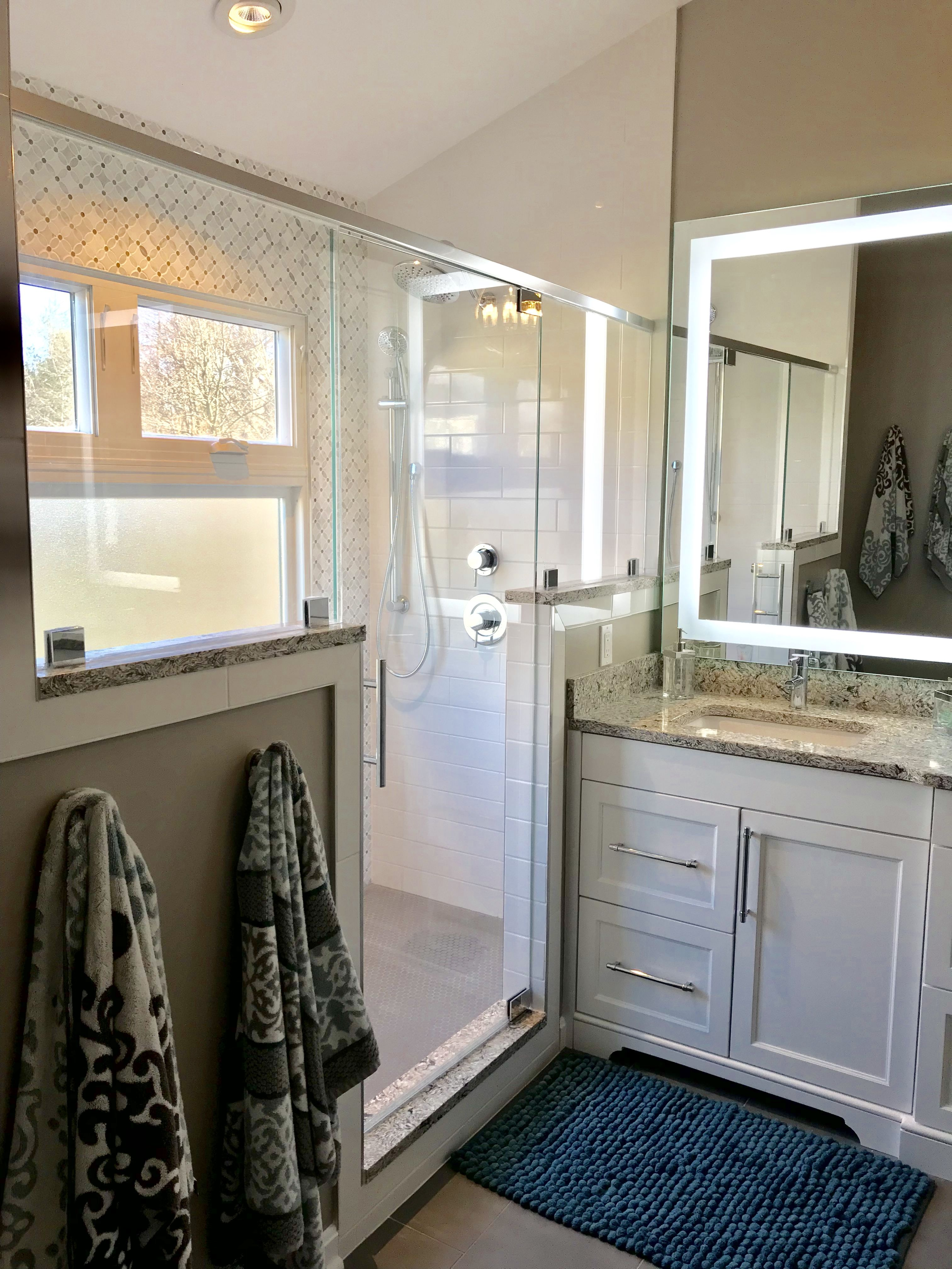 Master Bathroom Remodel Window In Shower With Privacy Glass And