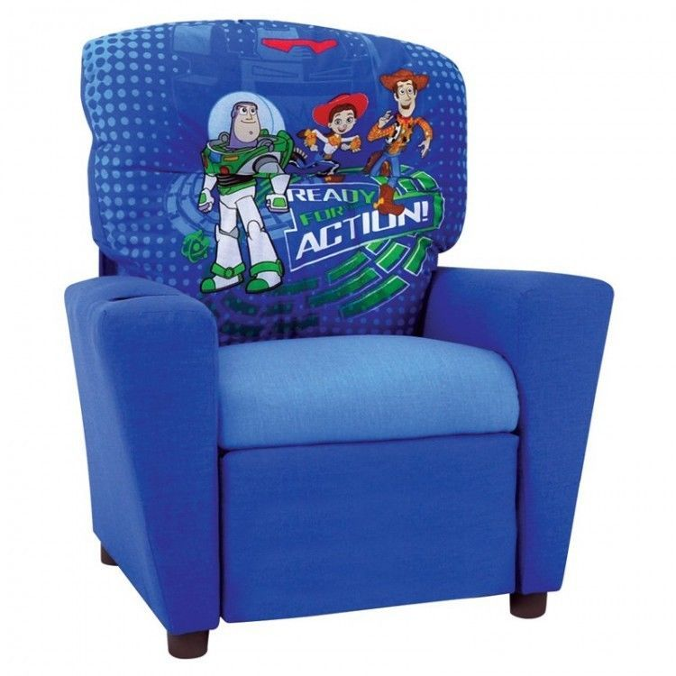 Youth Playroom Recliner Toy Story 3 Characters Sturdy Kids Chair W Cup  Holder