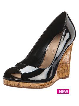 a004b71a749b Shoe Box Morrison Open Toe Patent Cork Wedge Shoes