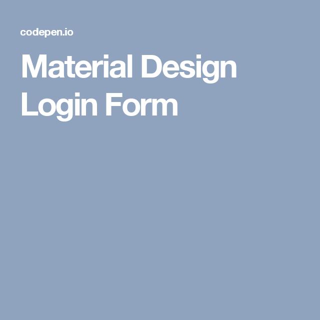 Material Design Login Form