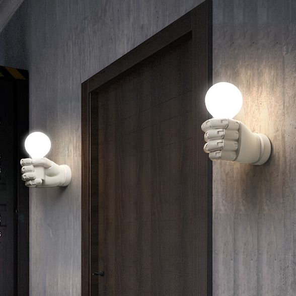 Modern Left Right Fists Wall Lamps Nordic White Black Hand Lights Fixture Home Indoor Lighting Bed Side Door Cafes
