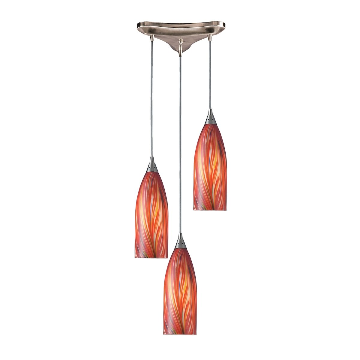 multi light pendant lighting fixtures. Cilindro 3 Light Pendant In Satin Nickel And Multi Glass By Elk Lighting Group Fixtures
