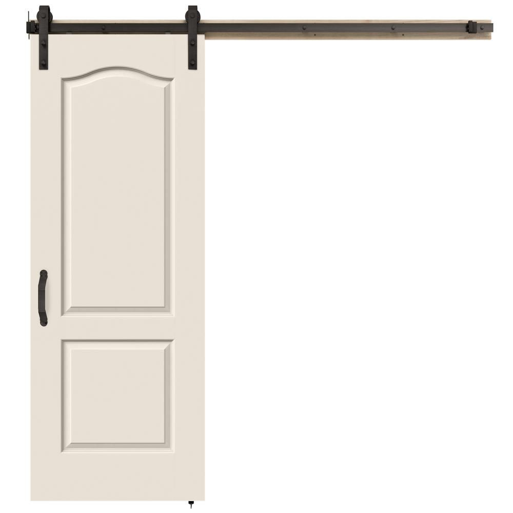 Jeld Wen 30 In X 84 In Princeton Primed Smooth Molded Composite Mdf Barn Door With Rustic Hardware Kit Thdjw191200673 Rustic Hardware Coastal Bedrooms Interior Barn Doors
