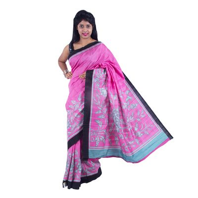 Red Printed Dupion Saree  with blouse By SHRE Sarees on Shimply.com