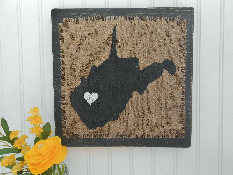 West Virginia Burlap Rustic Style Sign Via Etsy