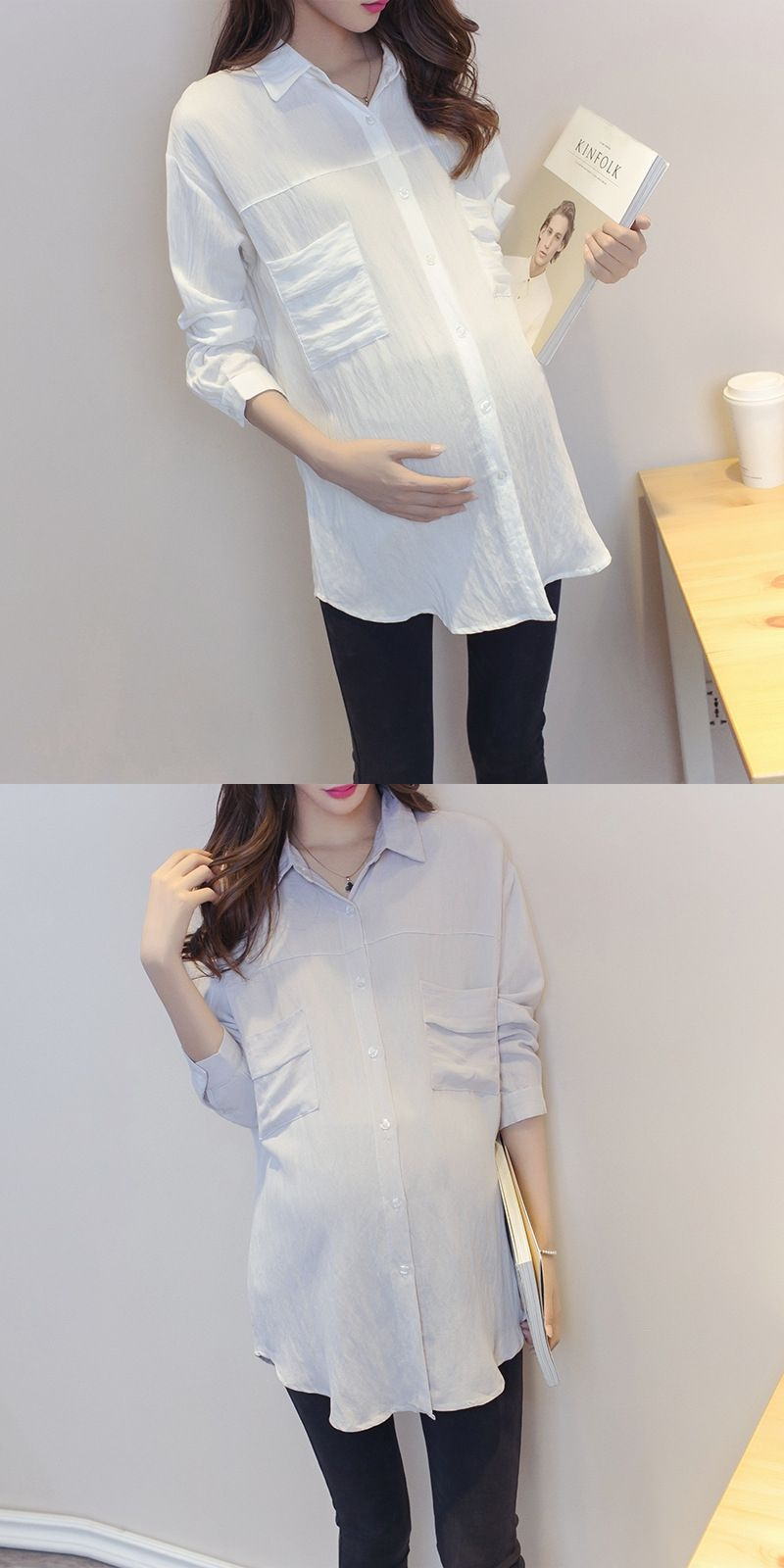 d8056ddf43816 Maternity Shirt Korean Blouse Clothes for Pregnant Women Long Sleeve Maternity  Blouses Pregnancy Clothing Y752