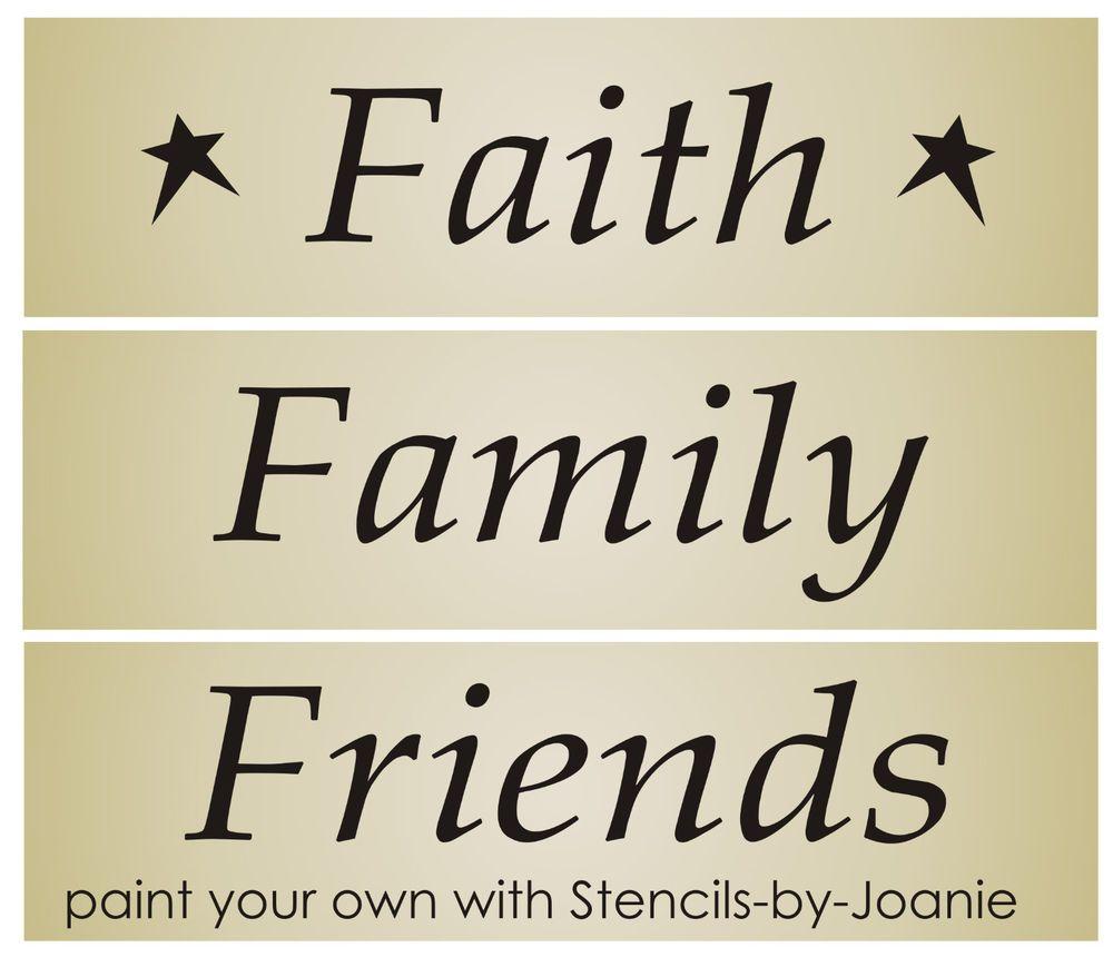 Primitive 3 pc STENCIL Faith Family Friends Star Country Home Decor ...