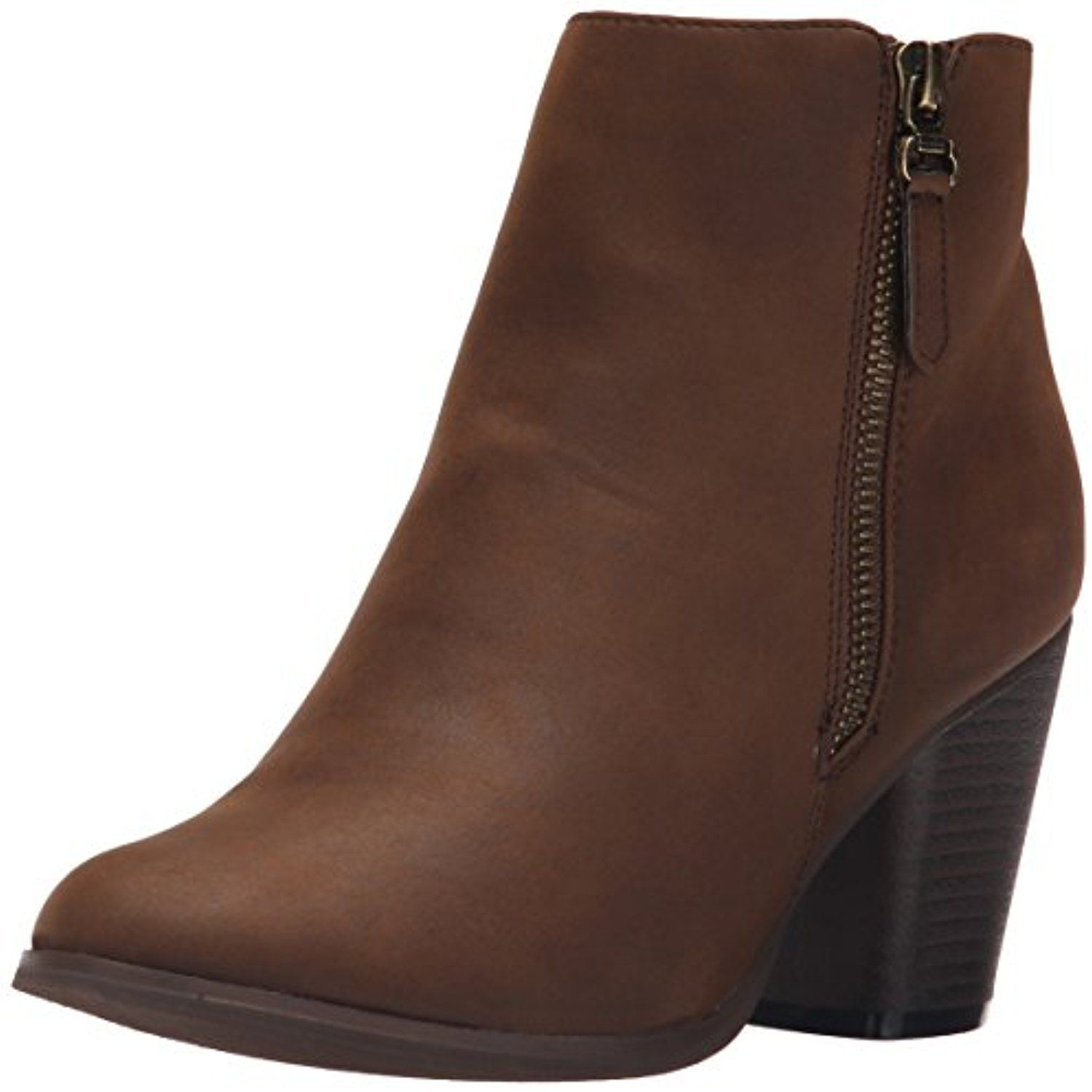 BABA-02 STACKED HEEL ZIPPER ANKLE BOOTIES - BROWN
