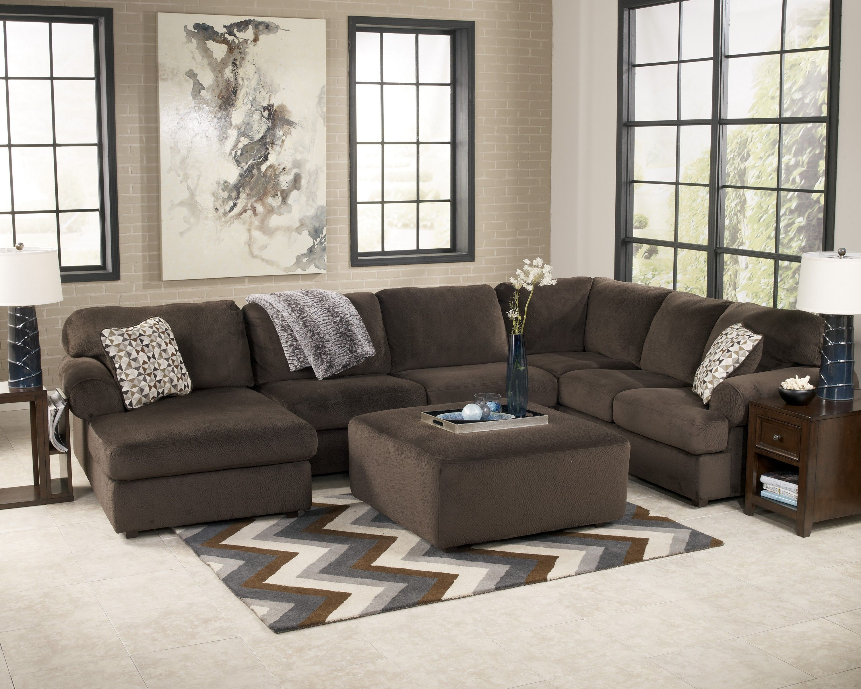 Jessa Place Chocolate Living Room Set