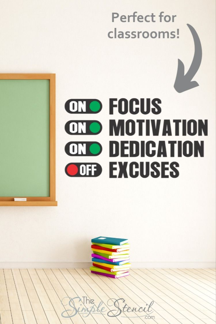 Focus Dedication Motivation On Excuses Off Wall Art Decals Classroom Wall Quotes Wall Quotes Decals Classroom Walls