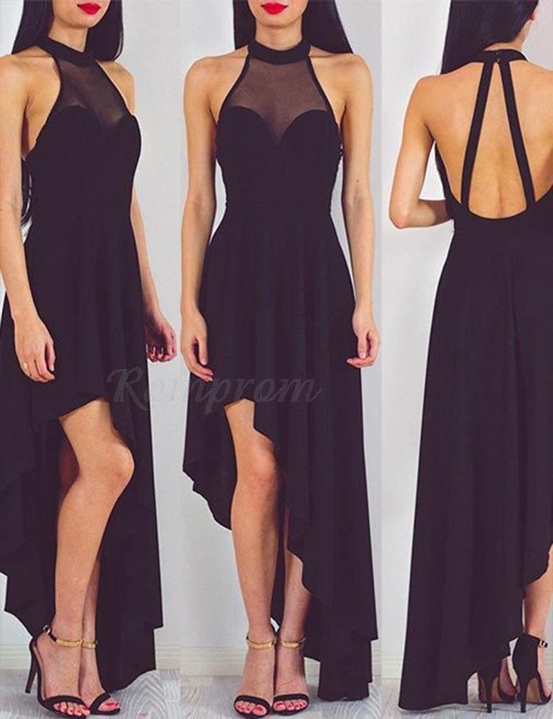 High low round illusion neck backless sleeveless black prom dress