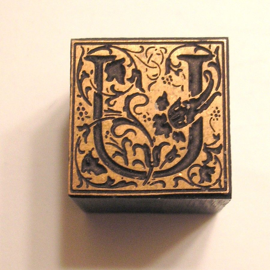 Lovely Ornate Floral Letter U Vintage Letterpress Printer's Block. $12.00, via Etsy.