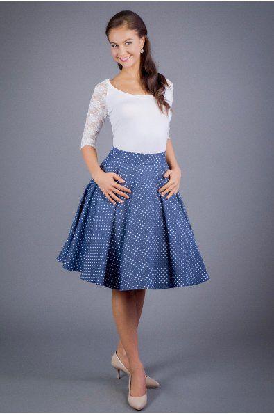 0b4a3d688 Kolová sukně denim s puntíky plně kolová sukně kapsy v bočních švech délka  60 cm zapínaní na zip a knofličky