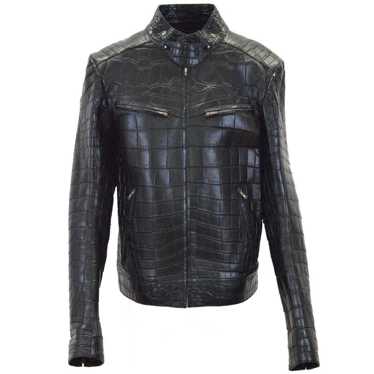 6c77960848f YVES SAINT LAURENT Jacket Black Crocodile Leather | human cladding ...