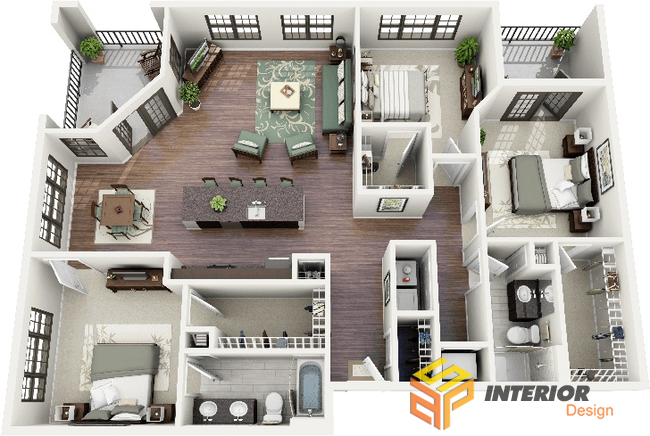 Thiết Kế Chung Cư 100m2 · 2 Bedroom Apartment Floor PlanApartment Layout House ...