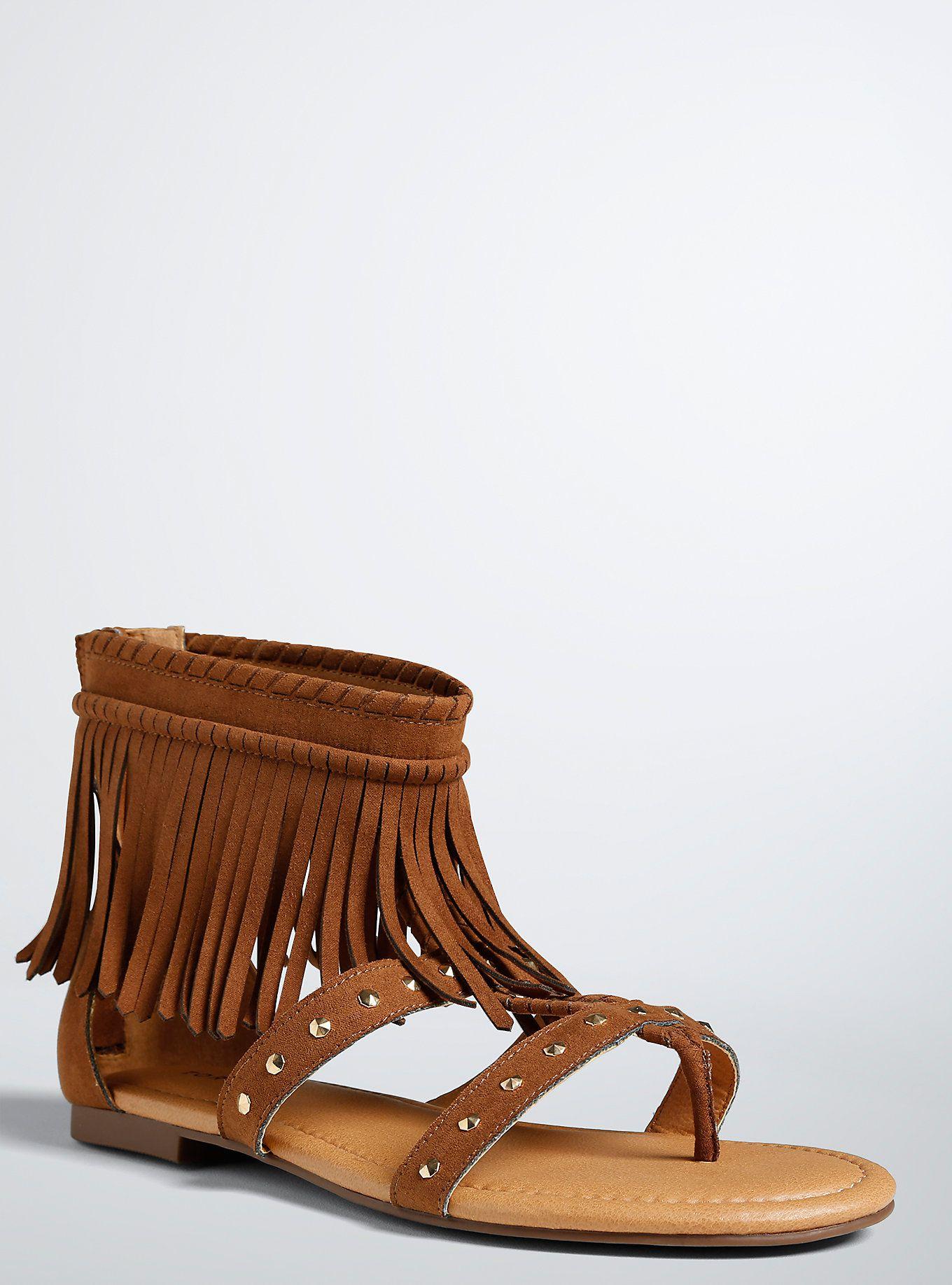 d42ff13e81c6 Studded Fringe Gladiator Sandals (Wide Width)