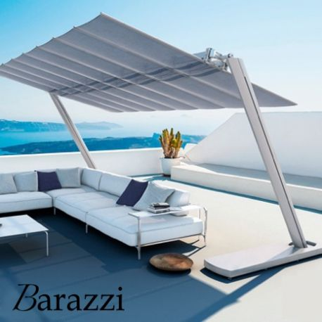 Grand Parasol Autoportant Flexy Zen En Aluminium Anodisé Et Toile  Inclinable Rétractable