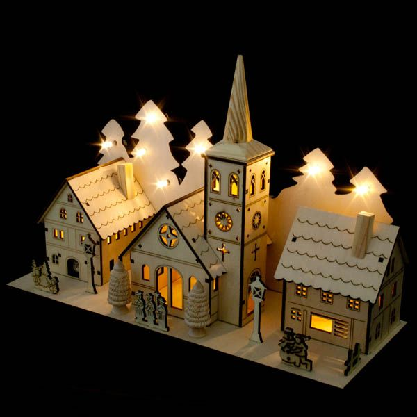 Noma Laser Cut Crafted Wooden 12 White Led Indoor Static Church And