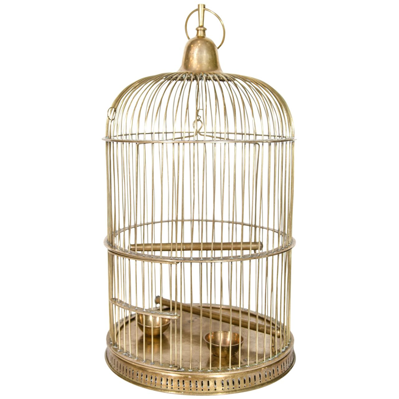 exceptional victorian brass bird cage