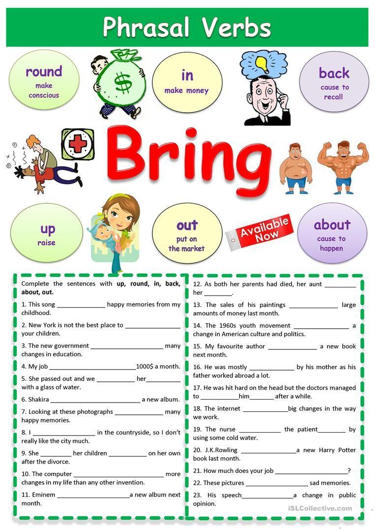 Phrasal Verbs Bring Worksheet Free Esl Printable Worksheets Made By Teachers English Vocabulary English Verbs Teaching English Grammar [ 1079 x 763 Pixel ]