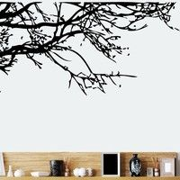 "Wish | New "" Branches"" Vinyl Wall Sticker Decoration For Home Living Room (Color: Black)"
