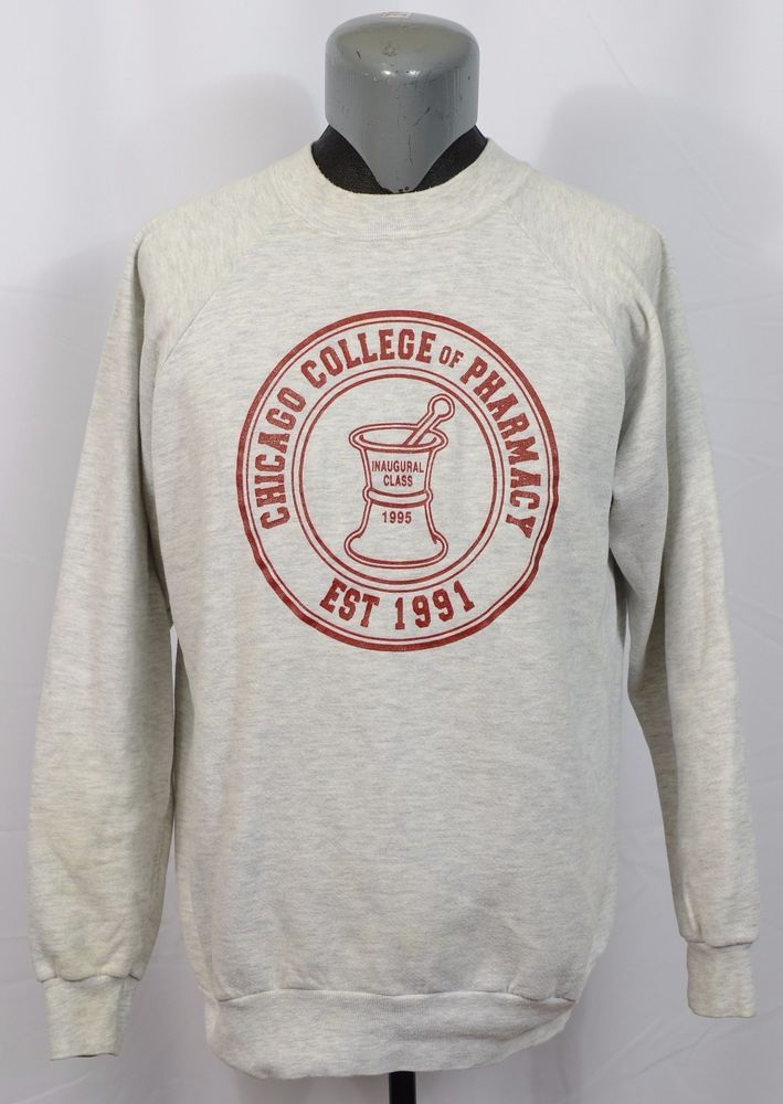 Details about VTG Chicago College of Pharmacy Sweatshirt Inaugural - pharmacy letter